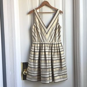 J. Crew Metallic Gold Schuyler Candy Stripe Dress